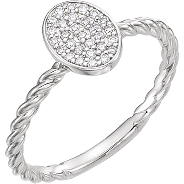 Genuine 14 KT White Gold 0.17 Carat TW Diamond Rope Cluster Ring