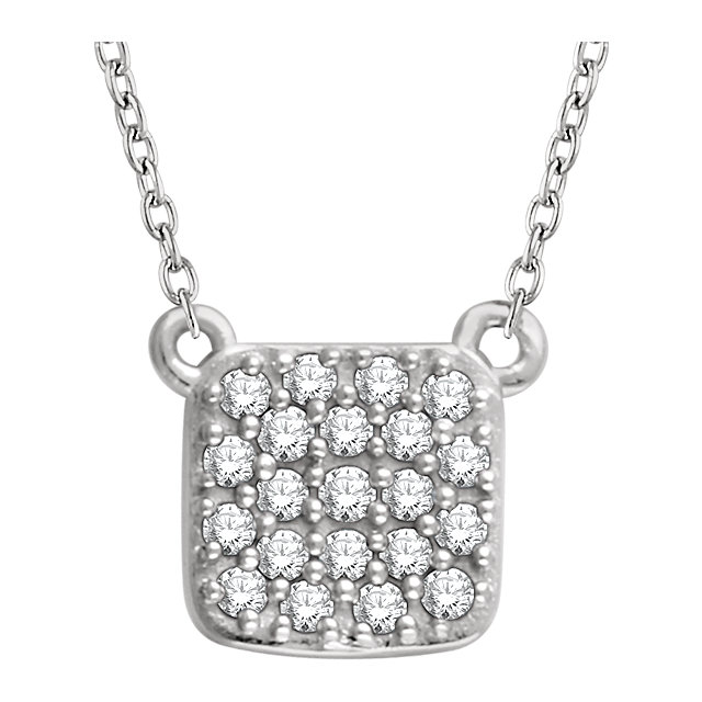 Gorgeous 14 Karat White Gold 0.17 Carat Total Weight Diamond Square Cluster 16-18
