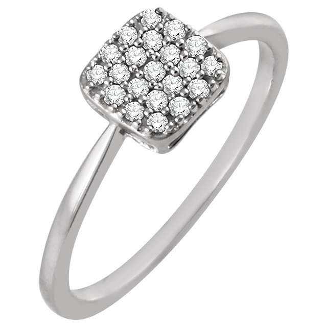 Great Gift in 14 Karat White Gold 0.17 Carat Total Weight Diamond Square Cluster Ring