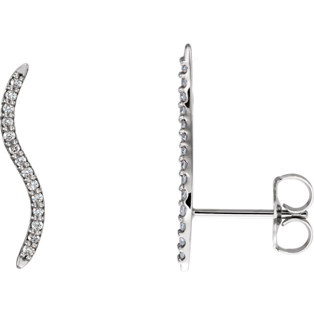 Easy Gift in 14 Karat White Gold 0.17 Carat Total Weight Diamond Wavy Ear Climbers
