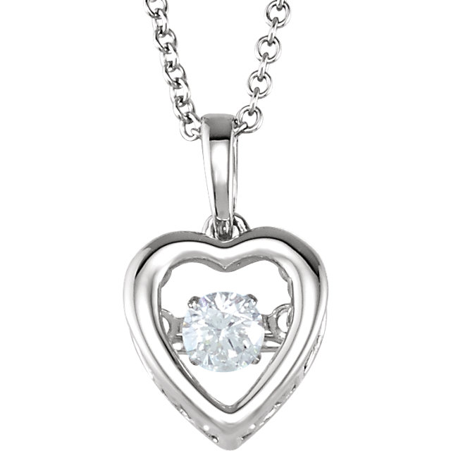 Gorgeous 14 Karat White Gold 0.17 CT Round Genuine Diamond Heart 18