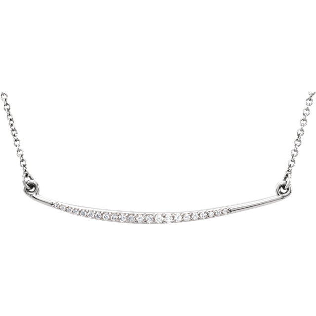 Great Gift in 14 Karat White Gold 0.12 Carat Total Weight Diamond Curved Bar 16