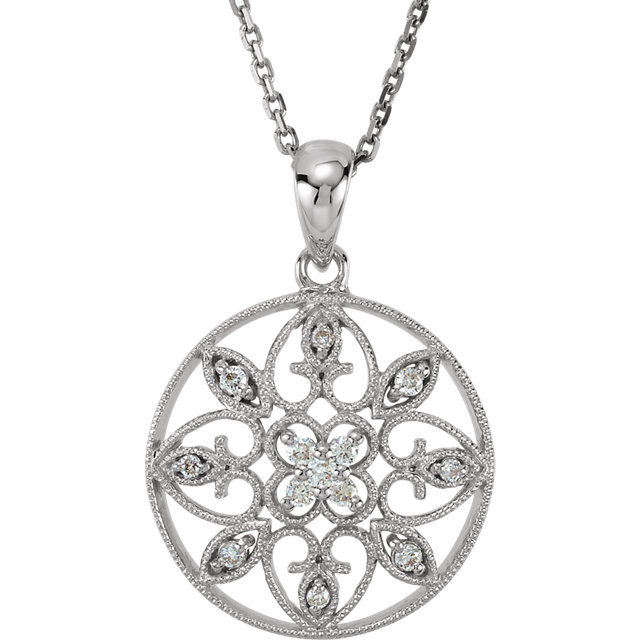 14 KT White Gold 0.12 Carat TW Diamond Filigree 18
