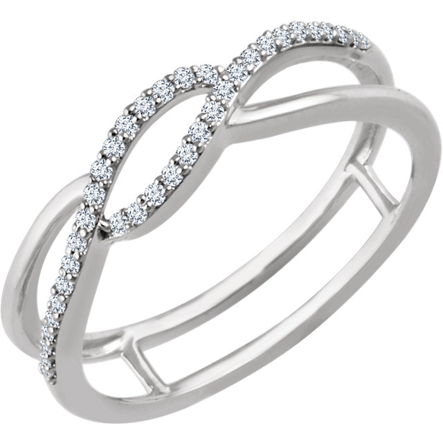 Quality 14 KT White Gold 0.12 Carat TW Diamond Freeform Ring
