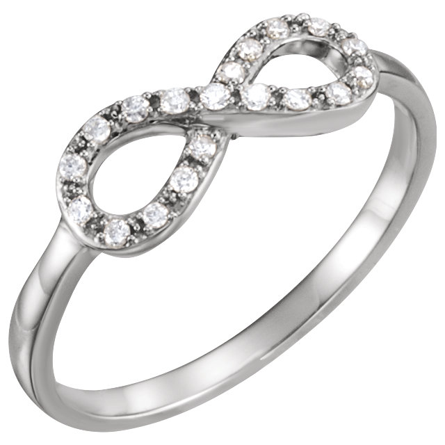 Great Buy in 14 KT White Gold 0.10 Carat TW Diamond Infinity-Inspired Ring
