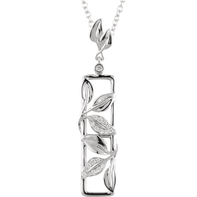 14 KT White Gold 1/8 Carat TW Diamond Leaf Design 18