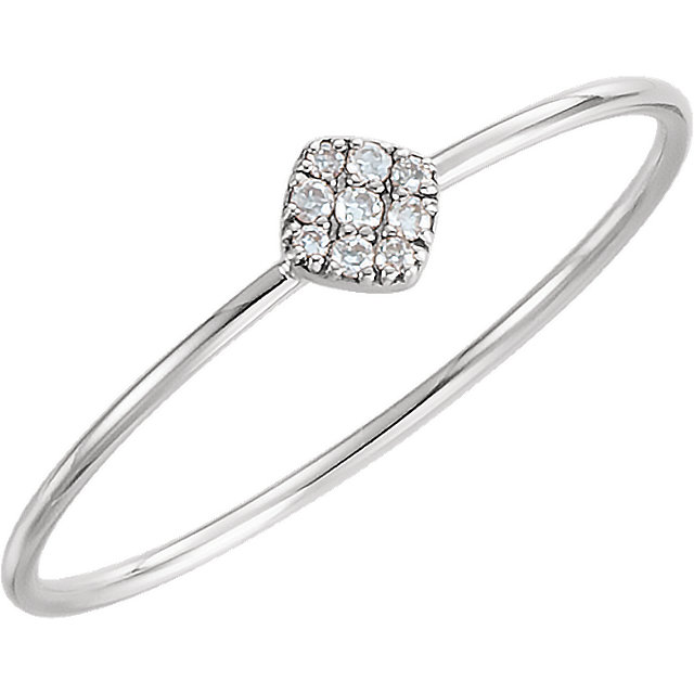 Genuine 14 Karat White Gold 0.12 Carat Diamond Petite Square Ring