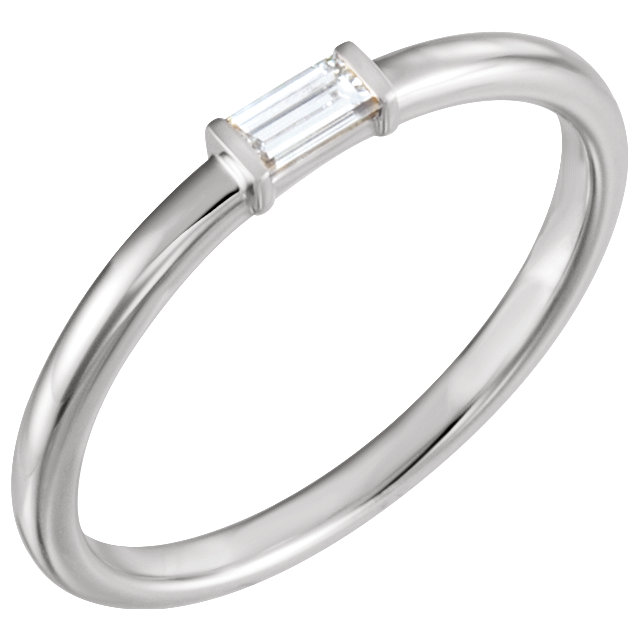 14 KT White Gold 0.12 Carat TW Diamond Stackable Ring