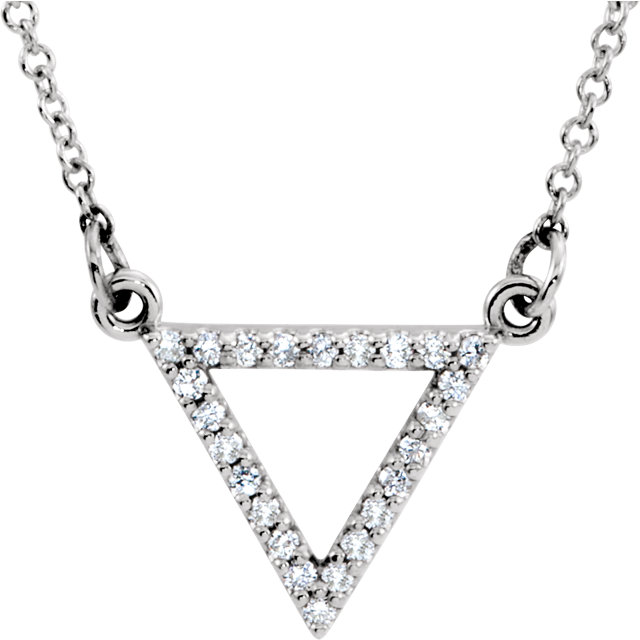 14 Karat White Gold 0.12 Carat Diamond Triangle 16