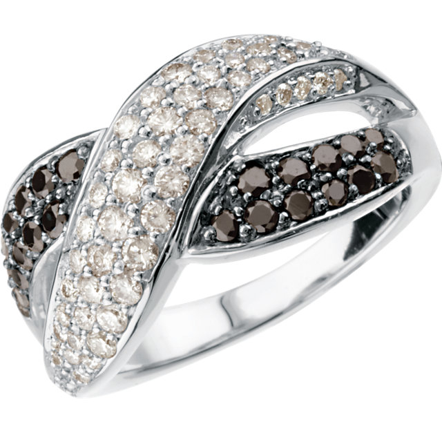 14 KT White Gold 1 Carat TW Black & White Diamond Ring