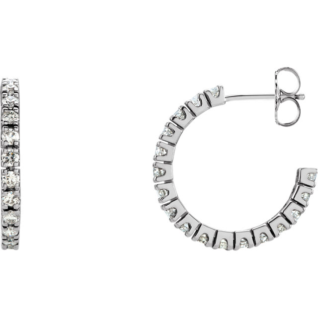Beautiful 14 Karat White Gold 1 Carat Total Weight Diamond Hoop Earrings