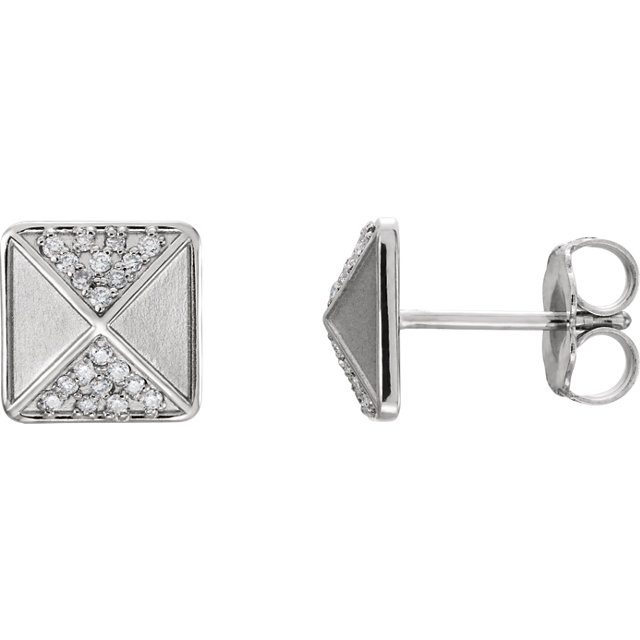 Low Price on 14 KT White Gold .10 Carat TW Diamond Accented Earrings