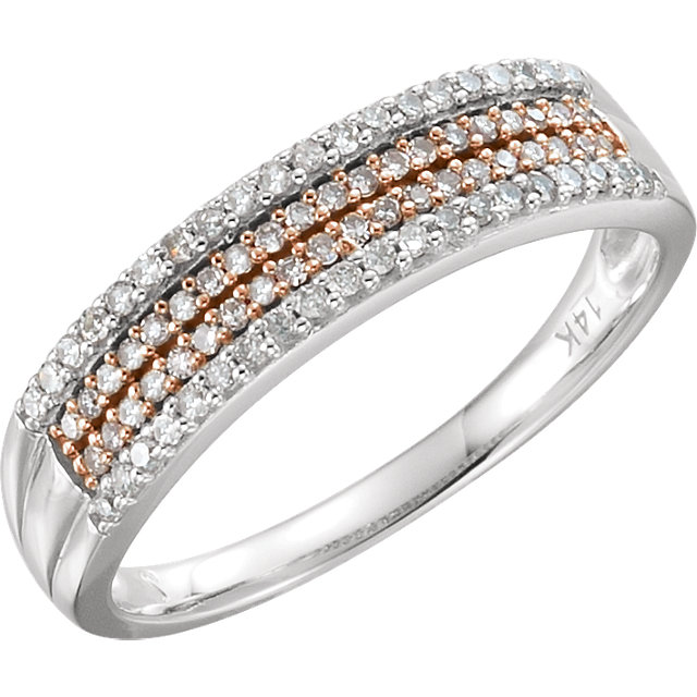 Genuine  14 Karat White Gold & 14 Karat Rose Gold Gold Plated 0.25 Carat Diamond Ring