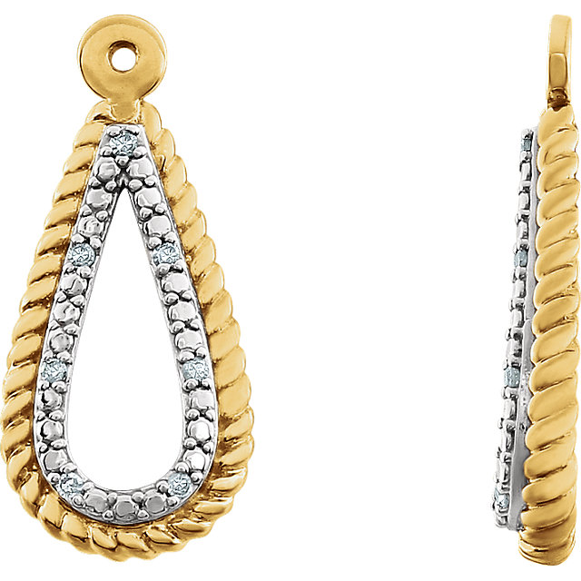 Wonderful 14 Karat White Gold 14 Karat Yellow Gold Gold Plated .04 Carat Total Weight Diamond Earring Jackets