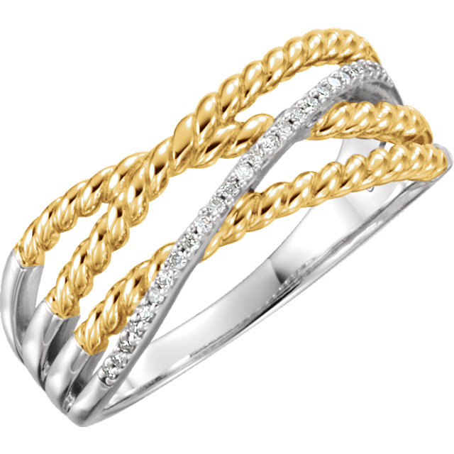 14 KT White Gold & 14 KT Yellow Gold Gold Plated .06 Carat TW Diamond Ring
