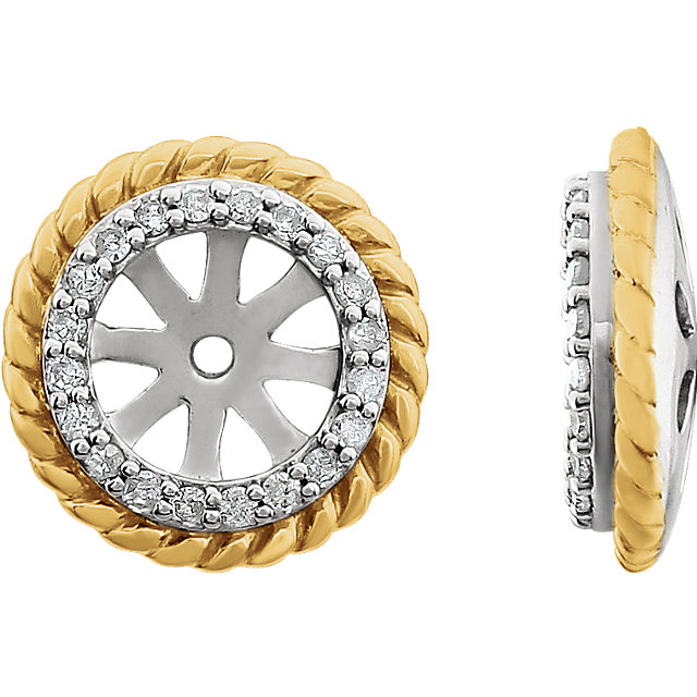 14 KT White Gold 14 KT Yellow Gold Gold Plated 0.12 Carat TW Diamond Rope Earring Jackets
