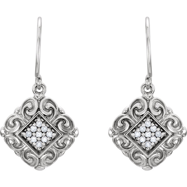 Perfect Gift Idea in 14 Karat White Gold .18 Carat Total Weight Diamond Sculptural-Inspired Earrings