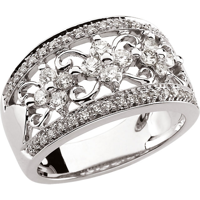 White Diamond Ring in 14 Karat White Gold 0.75 Carat Diamond Anniversary Band