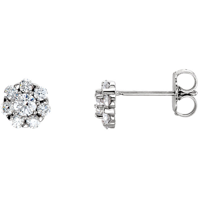 Fine Quality 14 Karat White Gold 0.75 Carat Total Weight Diamond Cluster Earrings