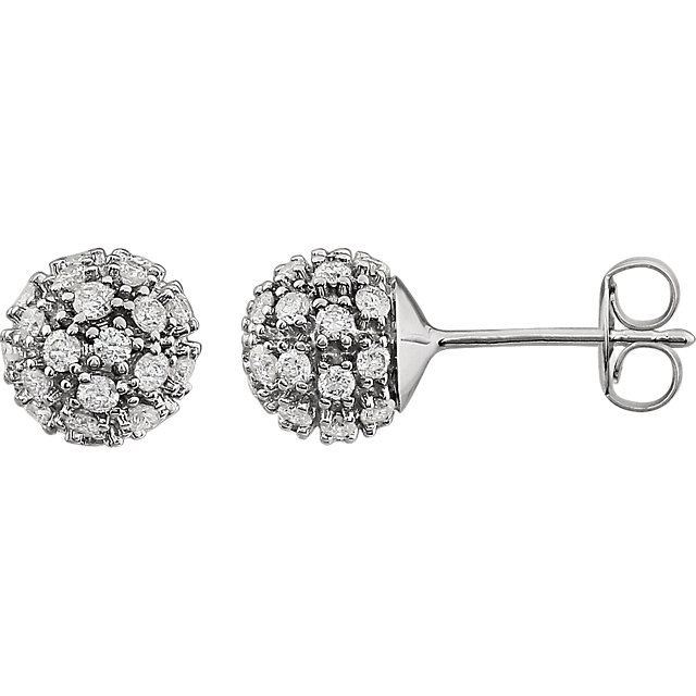 Chic 14 Karat White Gold 0.75 Carat Total Weight Diamond Cluster Earrings