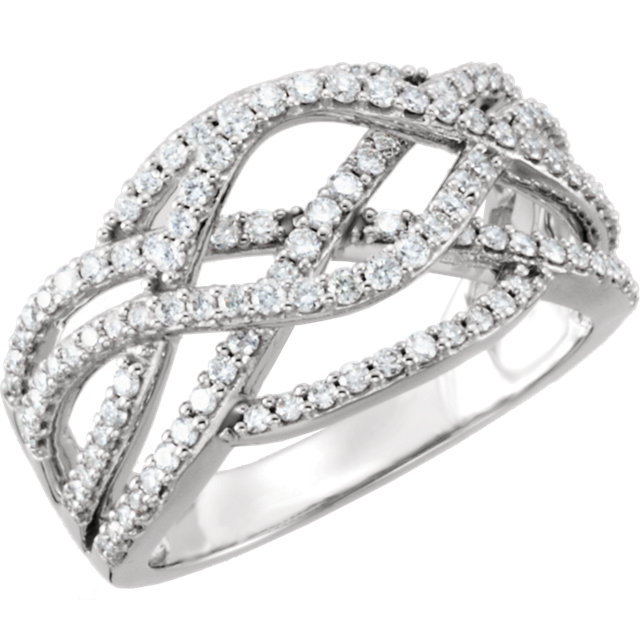 14 Karat White Gold 0.75 Carat Diamond Criss-Cross Ring