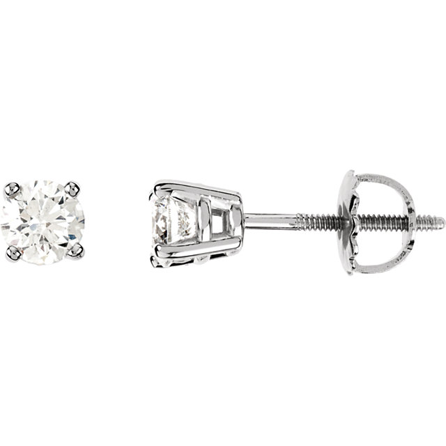 Wonderful 14 Karat White Gold 0.75 Carat Total Weight Diamond Earrings