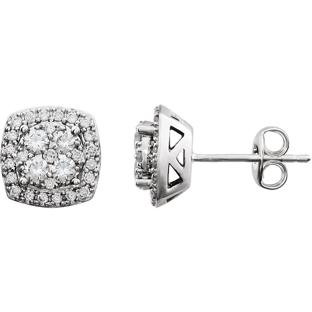 Perfect Gift Idea in 14 Karat White Gold 0.75 Carat Total Weight Diamond Earrings
