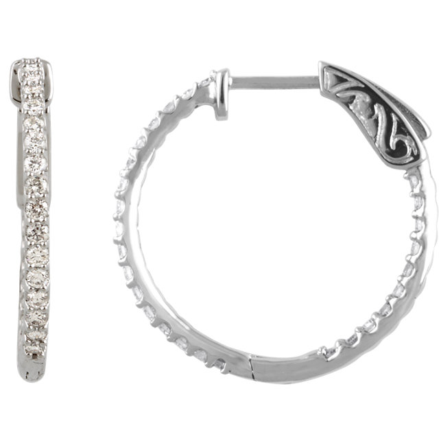 Perfect Gift Idea in 14 Karat White Gold 0.75 Carat Total Weight Diamond Inside/Outside Hoop Earrings