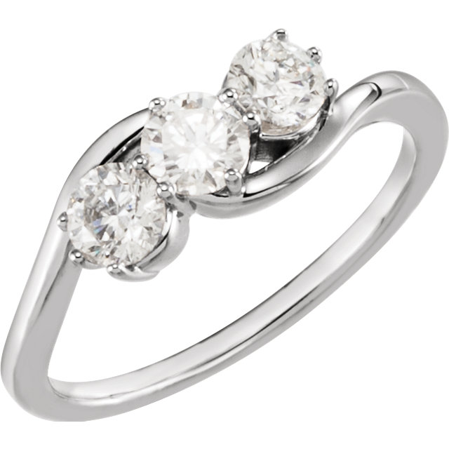 Fine 14 KT White Gold 0.75 Carat TW Diamond Three-Stone Ring