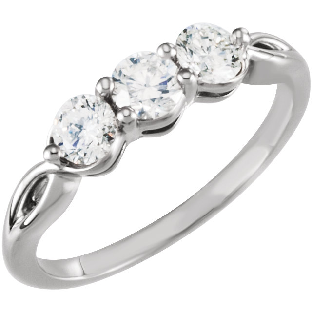 Quality 14 KT White Gold 0.75 Carat TW Diamond Three-Stone Ring