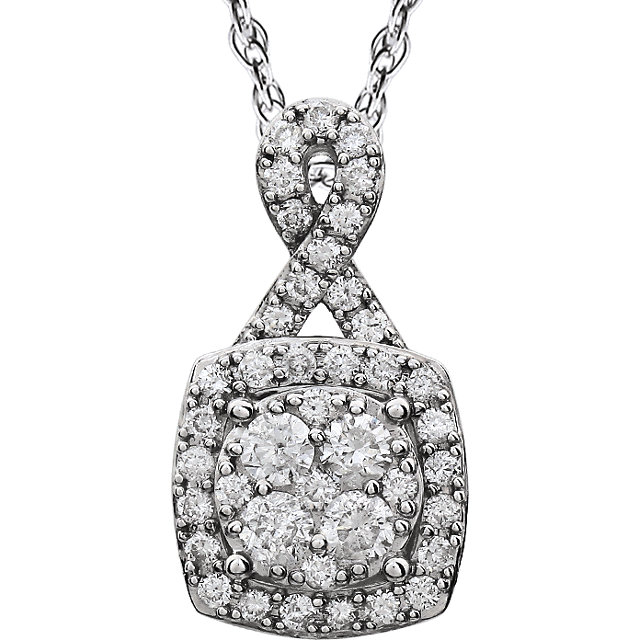 14 Karat White Gold 0.75 Carat Halo-Style Diamond 18