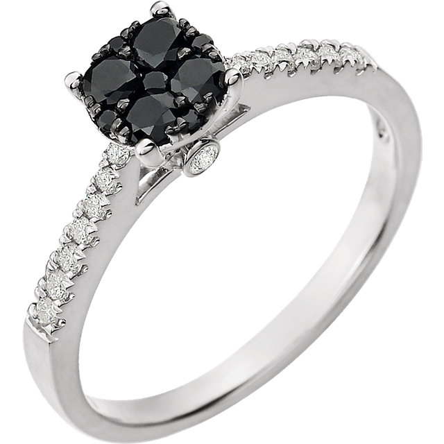 14 KT White Gold 3/8 Carat TW Black & White Diamond Cluster Ring