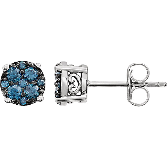 Alluring 14 Karat White Gold 3/8 Carat Total Weight Blue Diamond Cluster Earrings