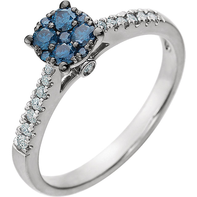 14 KT White Gold 3/8 Carat TW Blue & White Diamond Cluster Ring