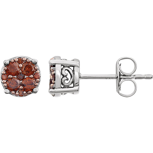 Must Have 14 Karat White Gold 3/8 Carat Total Weight Brown Diamond Cluster Earrings