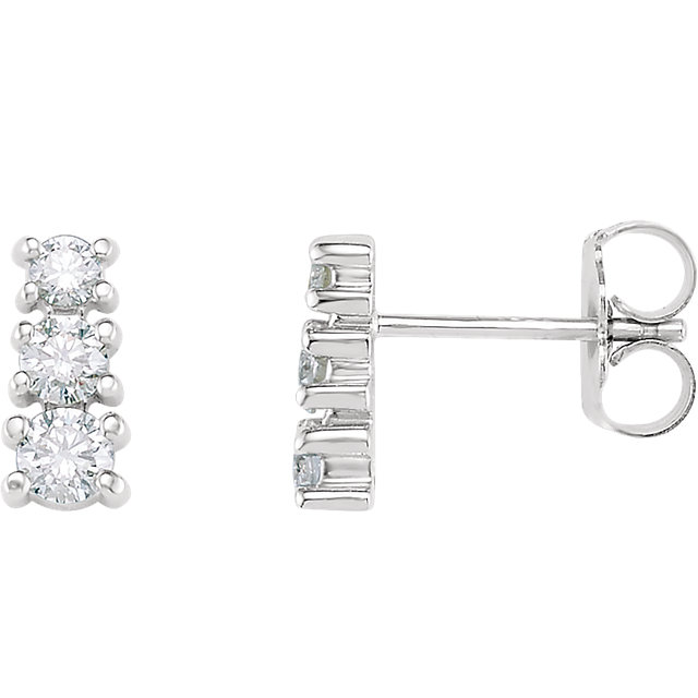 Wonderful 14 Karat White Gold 0.40 Carat Total Weight Diamond Three-Stone Earrings