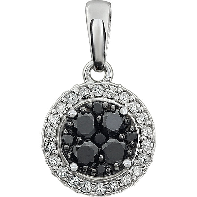 Genuine 14 KT White Gold 0.40 Carat TW Diamond Black & White Halo Pendant