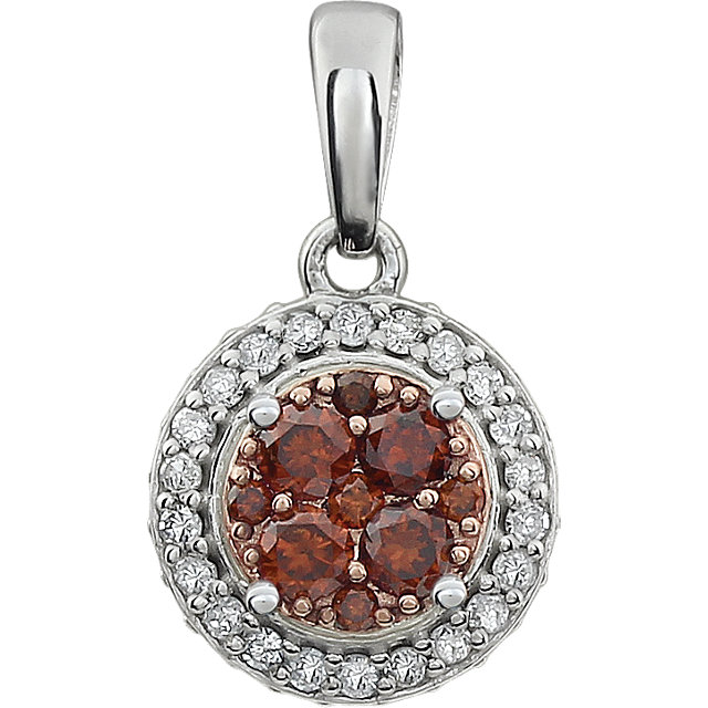 Perfect Gift Idea in 14 Karat White Gold 0.40 Carat Total Weight Diamond Brown & White Halo Pendant