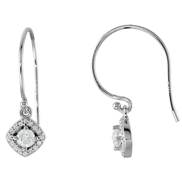 Must Have 14 KT White Gold 0.40 Carat TW Round Genuine Diamond Earrings