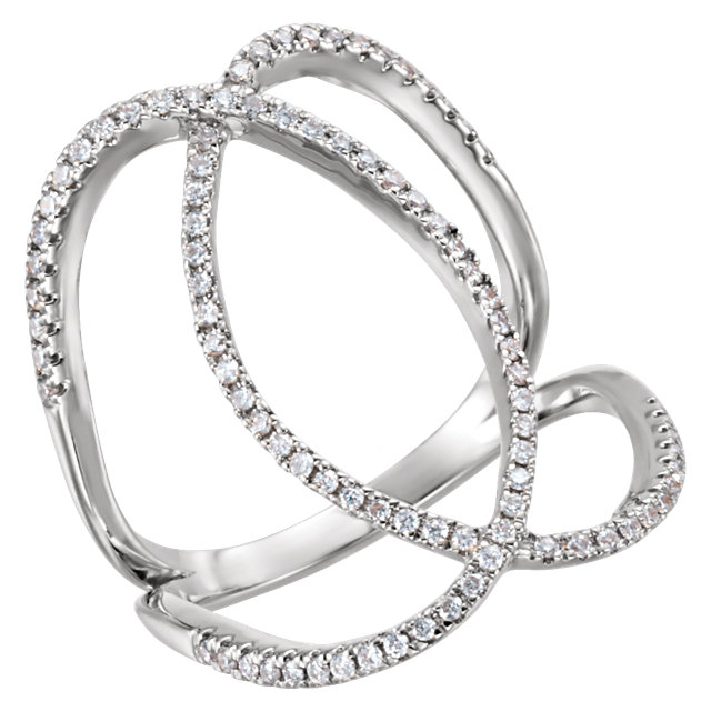 Shop Real 14 KT White Gold 0.40 Carat TW Diamond Freeform Ring