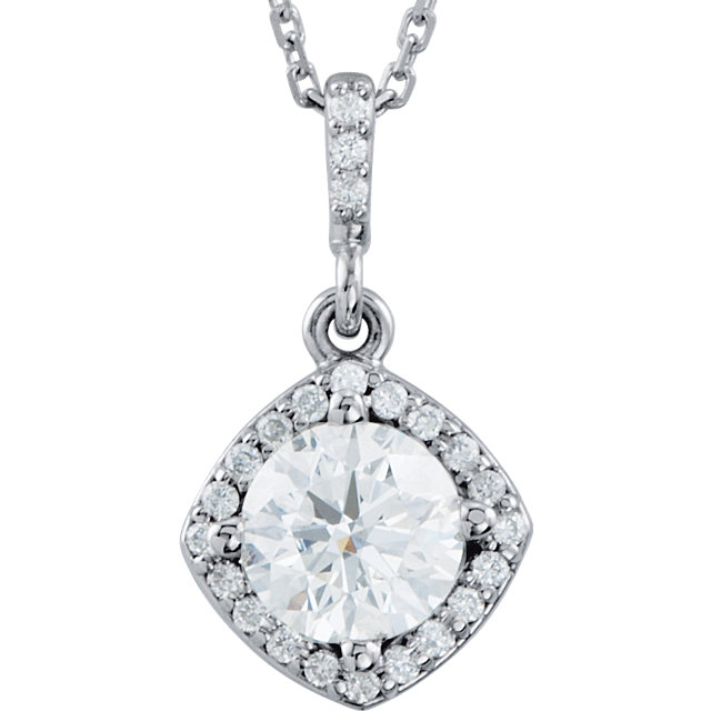 Perfect Gift Idea in 14 Karat White Gold 0.40 Carat Total Weight Diamond Halo-Style 18