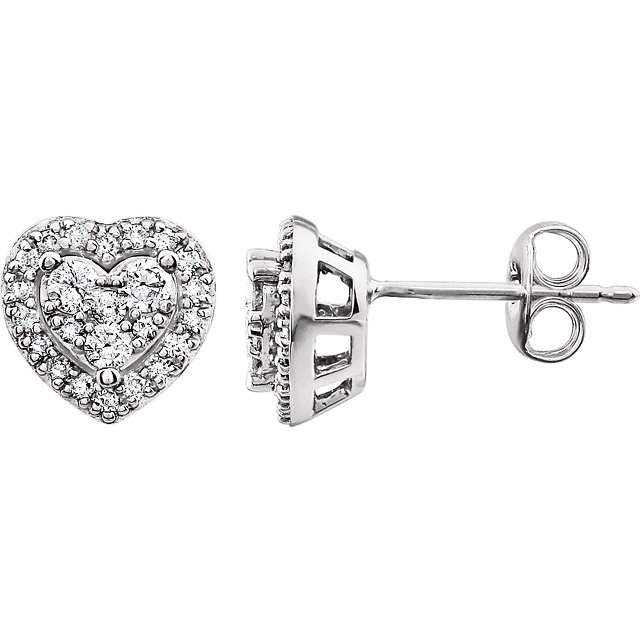 Appealing Jewelry in 14 Karat White Gold 0.40 Carat Total Weight Diamond Halo-Style Stud Earrings
