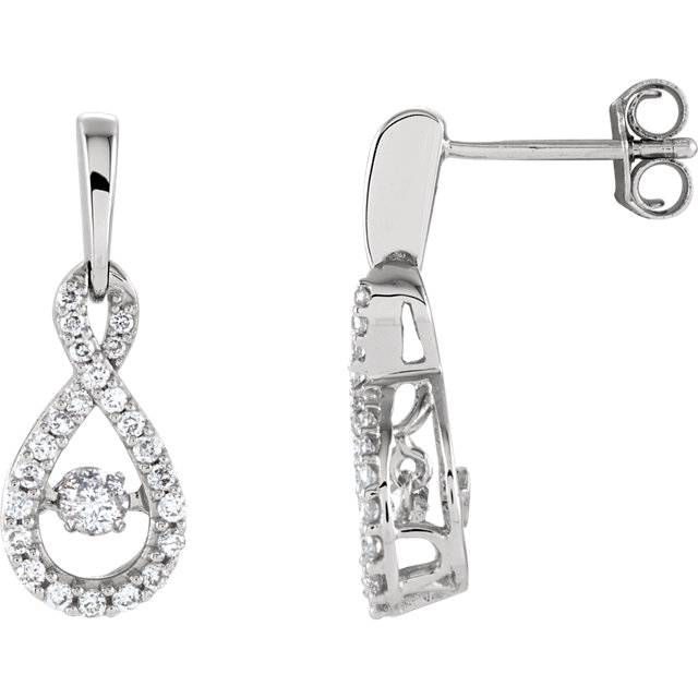 Surprise Her with  14 Karat White Gold 0.40 Carat Total Weight Diamond Infinity-Inspired Earrings