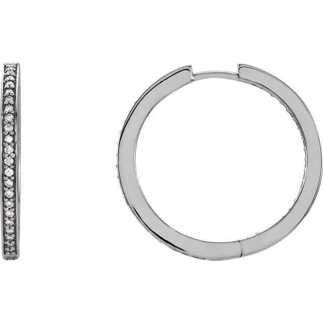 Eye Catchy 14 Karat White Gold 0.40 Carat Total Weight Diamond Inside/Outside Hoop Earrings