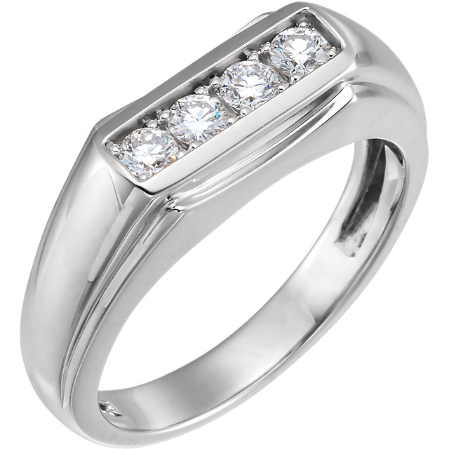 Low Price on 14 KT White Gold 0.40 Carat TW Diamond Men's Ring