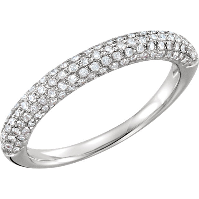 14 KT White Gold 3/8 Carat TW Diamond Pave Ring