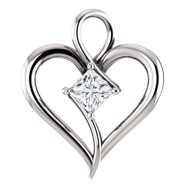 Contemporary 14 Karat White Gold 0.40 Carat Total Weight Diamond Pendant