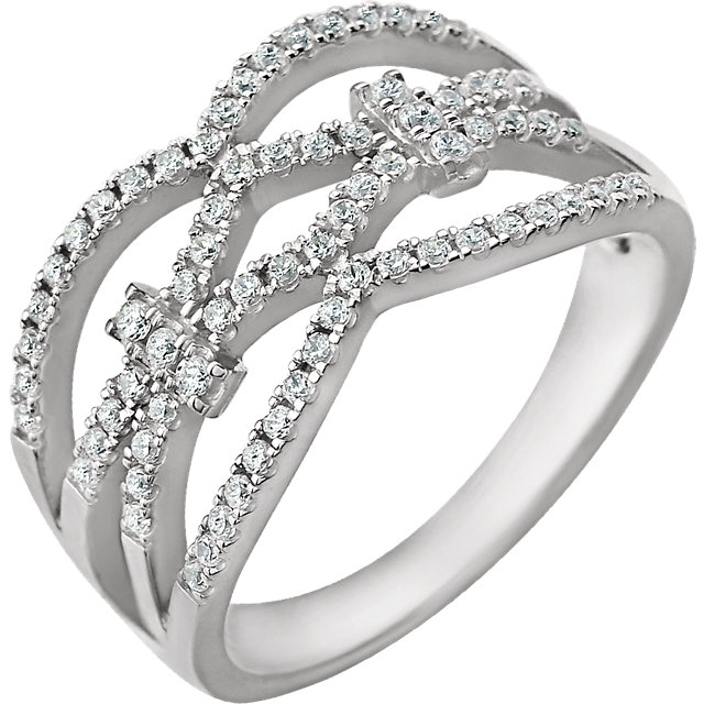 Shop Real 14 KT White Gold 0.40 Carat TW Diamond Ring