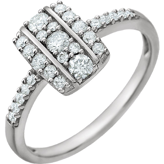 14 KT White Gold 3/8 Carat TW Diamond Ring