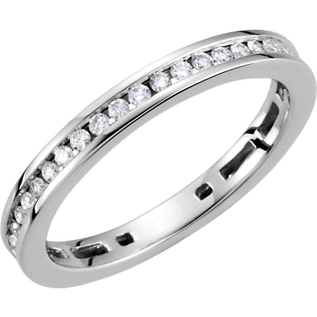 Great Deal in 14 Karat White Gold 0.40 Carat Total Weight Diamond Stackable Ring